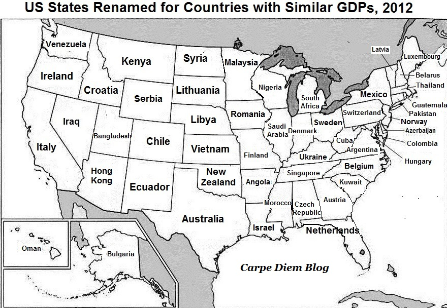 US States Renamed for Countries with Similar GDPs, 2012 ...